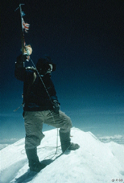 Tenzing Norgay on the peak of 'Mount Everest'